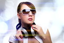 Free Girl With Headphones Stock Images - 20084194