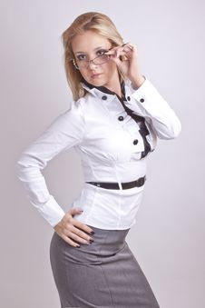 Free Girl In A Suit And Glasses Stock Photography - 20084372