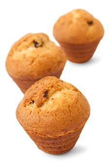 Muffins With Chocolate Filling Stock Photos