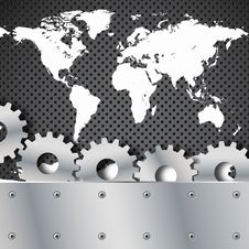 Metal Plate And Gears World Map Royalty Free Stock Photos