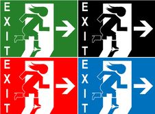 Free Colorful Emergency Exit Sign Symbol Royalty Free Stock Photos - 20084658