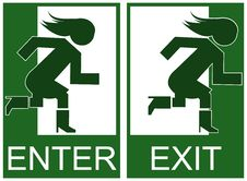 Free Green Emergency Exit And Enter Sign Royalty Free Stock Images - 20084669