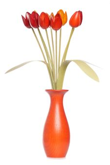 Free Wooden Tulips In A Vase Royalty Free Stock Image - 20085446