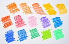 Free Multi Colored Pencil Strokes On White Paper Stock Photo - 20085860