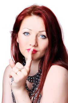 Free Woman With Finger On Lips Royalty Free Stock Image - 20087086