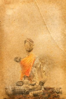 Free Buddha Statue On Old Paper Royalty Free Stock Photos - 20088618