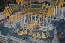 Free Thai Mural Painting On The Wall, Wat Phra Kaew Stock Images - 20089034
