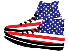 Free Sneakers With American Flag Royalty Free Stock Images - 20089189