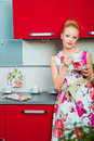 Free Blond Woman With Cup Of Coffee In Kitcen Stock Photos - 20090473