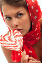 Free Woman With Heart Shaped Lollipop Royalty Free Stock Images - 20095129