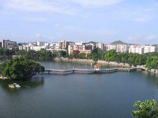 Bridge Over Pond In China Stock Photos
