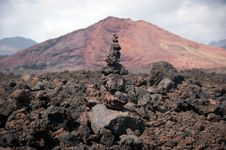 Balanced Stone Pile In Lanzarote Royalty Free Stock Photography