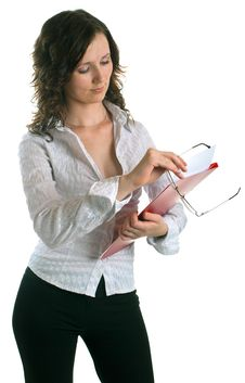 Women With A Folder In Hands Royalty Free Stock Photos
