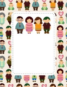 Free Cartoon Family Card Royalty Free Stock Photo - 20091705