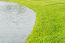 Free Grass Field With Curved Pond Stock Image - 20091871