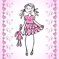 Free Lovely Vector Girl How Fall In Love Heart. Royalty Free Stock Photos - 20093688