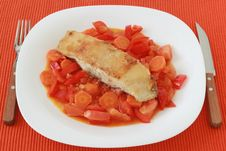 Free Fried Flounder With Vegetables Royalty Free Stock Photography - 20093767