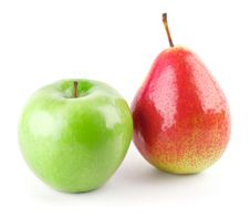 Green Apple And Red Pear Royalty Free Stock Photo