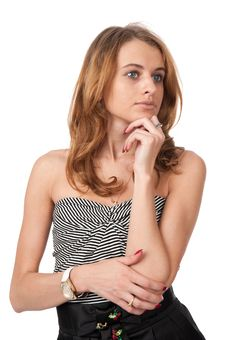 Young Blond Woman Thinking Looking Away Royalty Free Stock Photography