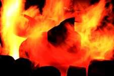 Burning Billets In Hot Stove Royalty Free Stock Image