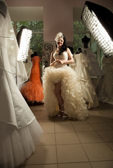 Free Woman In Bridal Shop Stock Photography - 20095132
