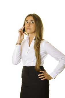Attractive Business Woman Talking On The Phone Stock Image