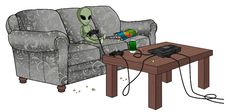 Free Bored Alien Playing Video Games Stock Image - 20096531
