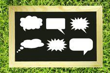 Speech Balloon Blank Message On Green Grass Stock Images