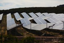 Solar Panels To Harness Renewable Energy Stock Photos