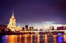 Night Moscow Cityscape Stock Image