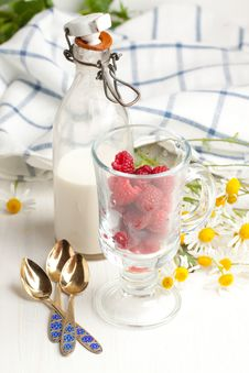 Free Fresh Ripe Raspberries And Milk Royalty Free Stock Photos - 20097608