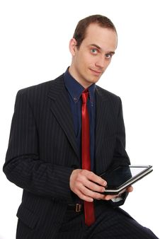 Free The Young Enterprising Man With The Laptop Royalty Free Stock Photography - 20097857