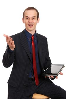 Free The Young Enterprising Man With The Laptop Royalty Free Stock Image - 20097976