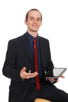 Free The Young Enterprising Man With The Laptop Stock Photos - 20098003