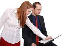 Two Happy Businesspeople Working Together Royalty Free Stock Images