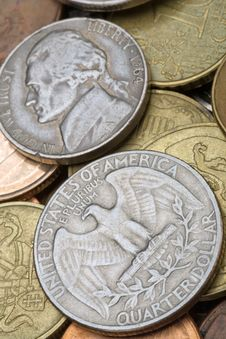 Old American Coins Stock Photo
