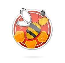 Free Glass Medic Bee On The Red Circle Royalty Free Stock Photo - 20099025
