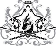 Dragon Shield With Swords Stock Photo