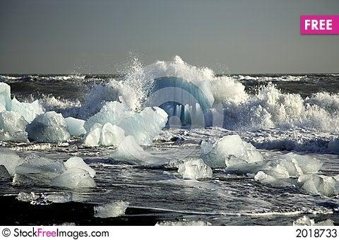Icebergs on the beach Stock Photo