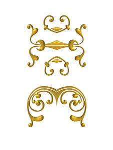 Shiny Gold Decorative Flourishes Stock Photo