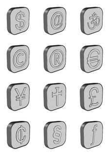 Free Currency Symbol Buttons Stock Photo - 2012370