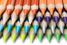 Layered Colored Crayons Stock Photography