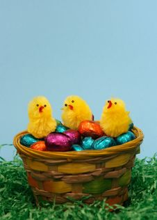 Free Sweet  Easter Eggs And Three Chicken Royalty Free Stock Photography - 2013977