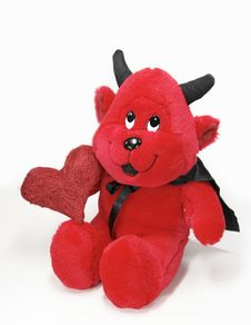 Devil Toy With A Red Heart Stock Photography