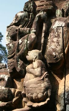 Bas Relief At Angkor Thom Stock Images