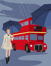 Free London Bus And Umbrellas Royalty Free Stock Photos - 20101748