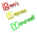 Free Don T Repeat Yourself Acronym Royalty Free Stock Photo - 20103645
