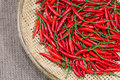 Free Red Chili Peppers On Bamboo Weave Stock Images - 20105384