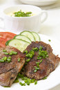 Free Grilled Steak With Fresh Vegetables In White Plate Royalty Free Stock Image - 20106736