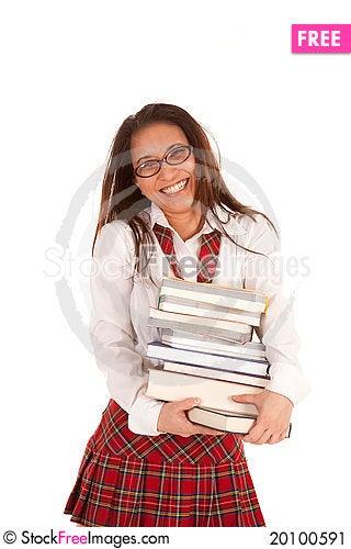 School girl with books smile Stock Photo